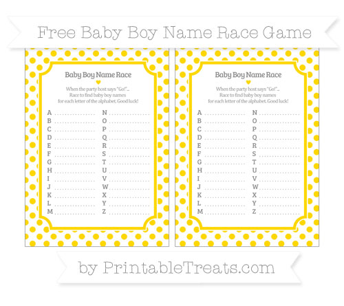 Free Goldenrod Dotted Pattern Baby Boy Name Race Game
