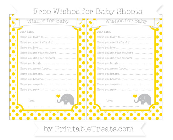 Free Goldenrod Dotted Pattern Baby Elephant Wishes for Baby Sheets
