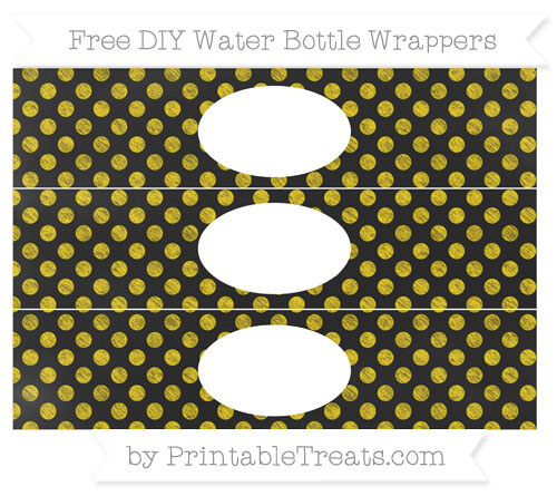 Free Goldenrod Dotted Pattern Chalk Style DIY Water Bottle Wrappers