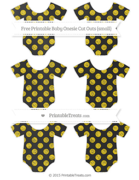 Free Goldenrod Dotted Pattern Chalk Style Small Baby Onesie Cut Outs