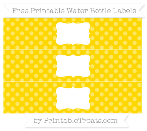 Free Goldenrod Dotted Pattern Water Bottle Labels