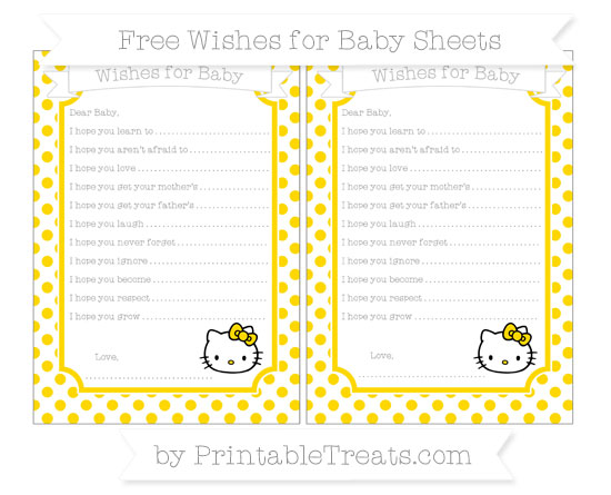 Free Goldenrod Dotted Pattern Hello Kitty Wishes for Baby Sheets