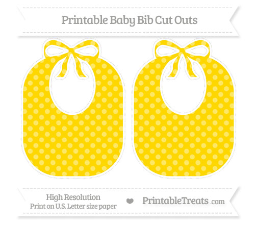 Free Goldenrod Dotted Pattern Large Baby Bib Cut Outs