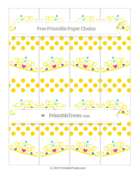 Free Goldenrod Dotted Pattern Princess Tiara Paper Chains