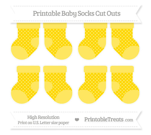 Free Goldenrod Dotted Pattern Small Baby Socks Cut Outs