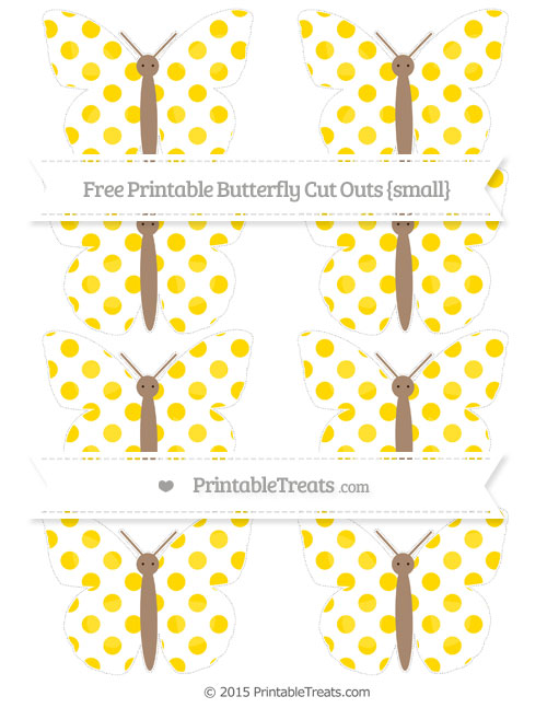 Free Goldenrod Dotted Pattern Small Butterfly Cut Outs