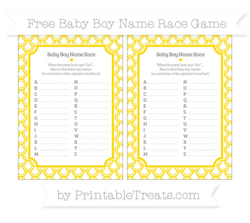 Free Goldenrod Fish Scale Pattern Baby Boy Name Race Game