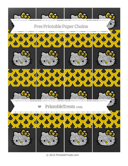 Free Goldenrod Fish Scale Pattern Chalk Style Hello Kitty Paper Chains