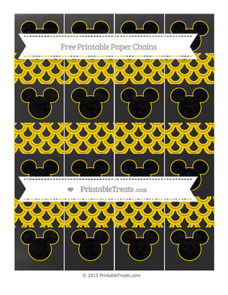 Free Goldenrod Fish Scale Pattern Chalk Style Mickey Mouse Paper Chains