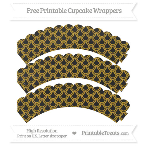 Free Goldenrod Fish Scale Pattern Chalk Style Scalloped Cupcake Wrappers