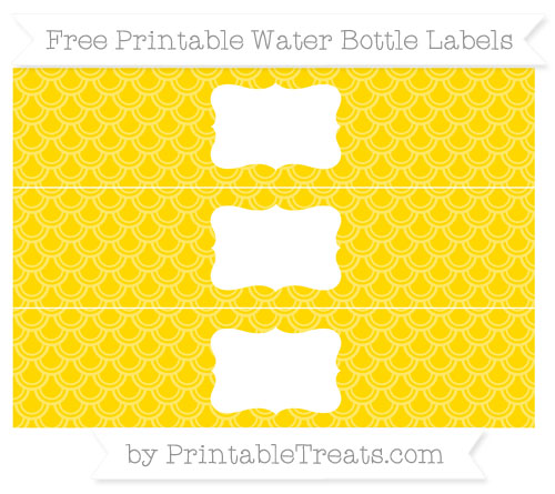 Free Goldenrod Fish Scale Pattern Water Bottle Labels