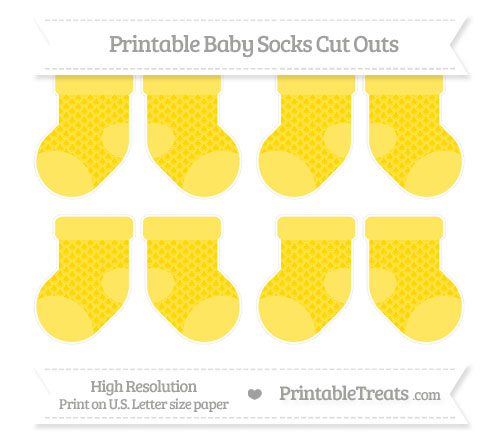Free Goldenrod Fish Scale Pattern Small Baby Socks Cut Outs