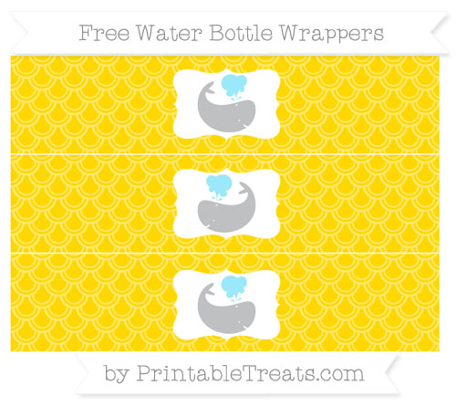 Free Goldenrod Fish Scale Pattern Whale Water Bottle Wrappers