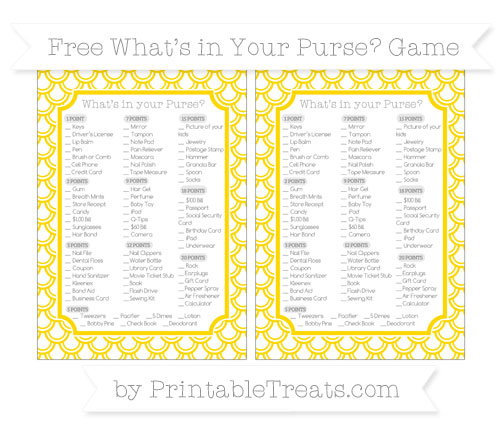 Free Goldenrod Fish Scale Pattern What's in Your Purse Baby Shower Game