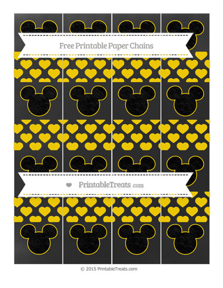 Free Goldenrod Heart Pattern Chalk Style Mickey Mouse Paper Chains