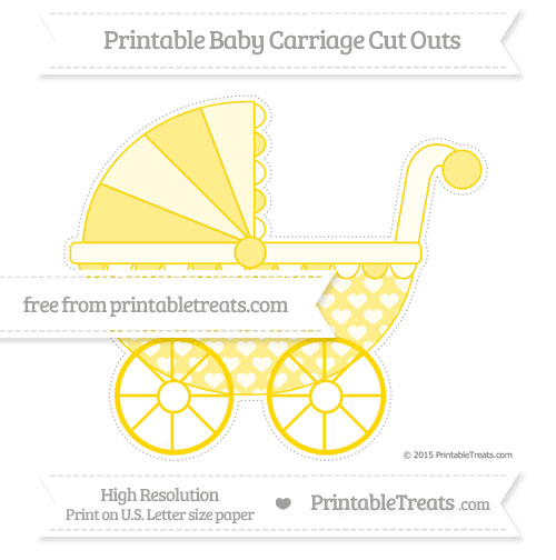 Free Goldenrod Heart Pattern Extra Large Baby Carriage Cut Outs