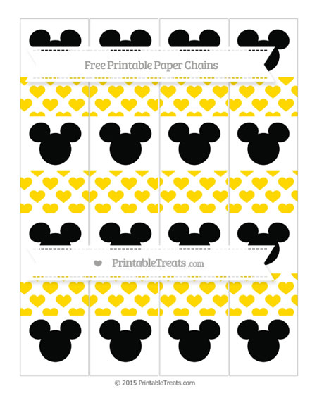 Free Goldenrod Heart Pattern Mickey Mouse Paper Chains