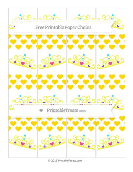 Free Goldenrod Heart Pattern Princess Tiara Paper Chains