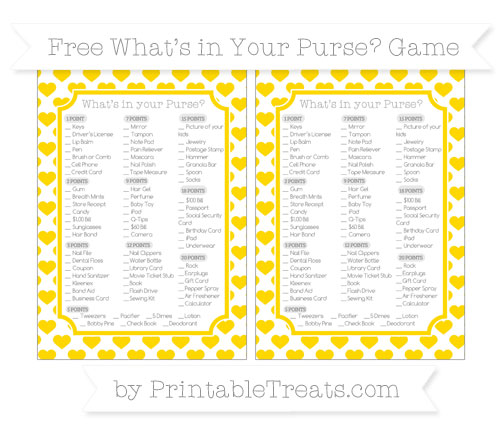 Free Goldenrod Heart Pattern What's in Your Purse Baby Shower Game