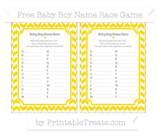 Free Goldenrod Herringbone Pattern Baby Boy Name Race Game