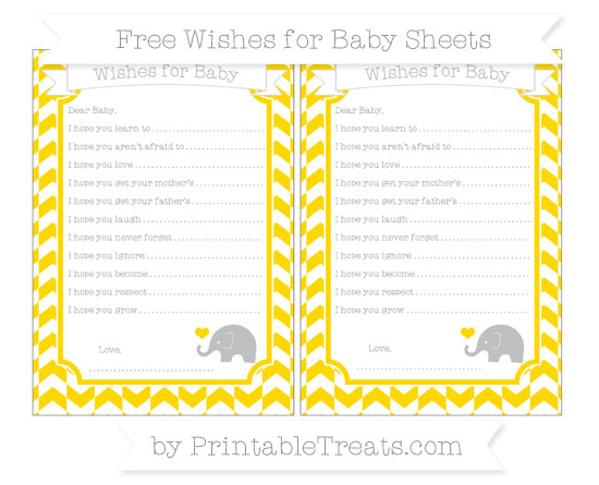 Free Goldenrod Herringbone Pattern Baby Elephant Wishes for Baby Sheets