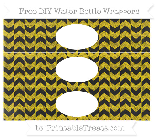 Free Goldenrod Herringbone Pattern Chalk Style DIY Water Bottle Wrappers