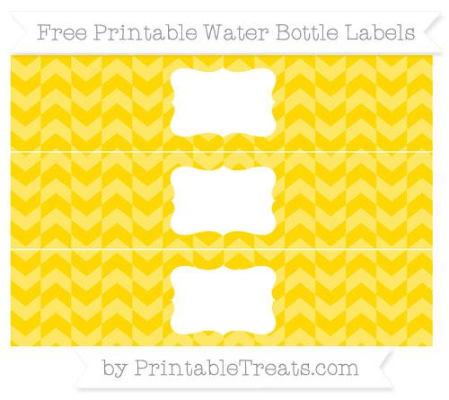 Free Goldenrod Herringbone Pattern Water Bottle Labels