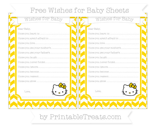 Free Goldenrod Herringbone Pattern Hello Kitty Wishes for Baby Sheets