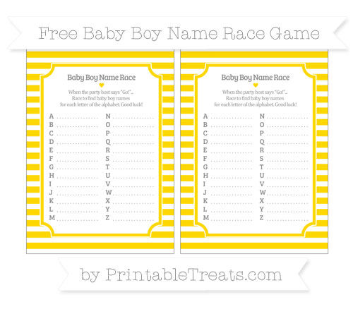 Free Goldenrod Horizontal Striped Baby Boy Name Race Game