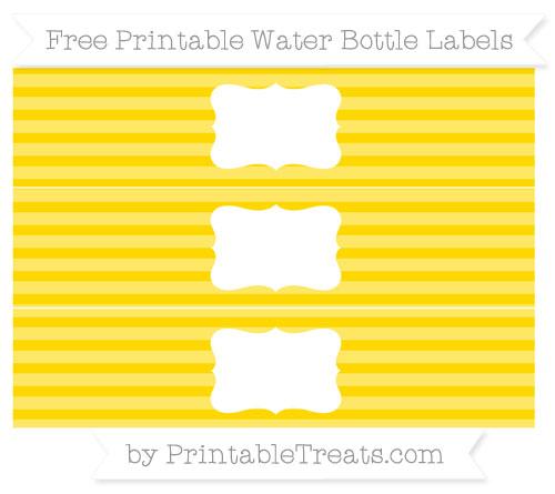 Free Goldenrod Horizontal Striped Water Bottle Labels