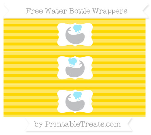 Free Goldenrod Horizontal Striped Whale Water Bottle Wrappers