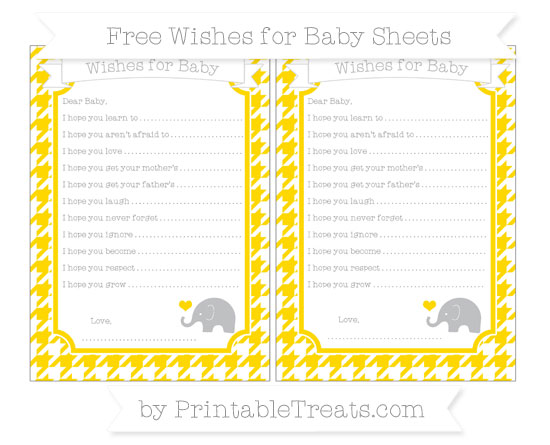 Free Goldenrod Houndstooth Pattern Baby Elephant Wishes for Baby Sheets