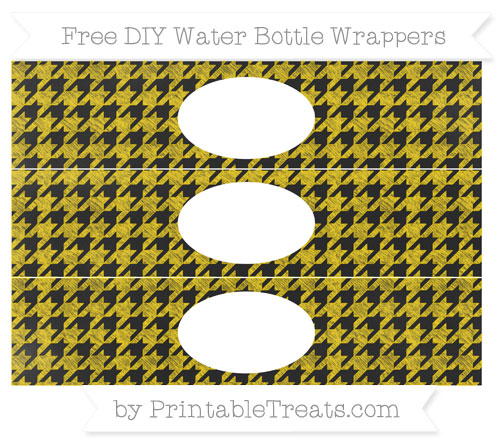 Free Goldenrod Houndstooth Pattern Chalk Style DIY Water Bottle Wrappers