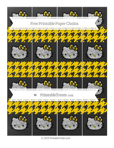 Free Goldenrod Houndstooth Pattern Chalk Style Hello Kitty Paper Chains