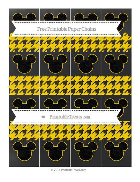 Free Goldenrod Houndstooth Pattern Chalk Style Mickey Mouse Paper Chains