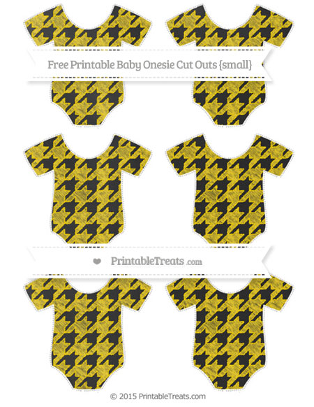 Free Goldenrod Houndstooth Pattern Chalk Style Small Baby Onesie Cut Outs