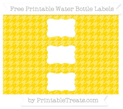 Free Goldenrod Houndstooth Pattern Water Bottle Labels