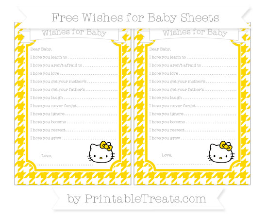Free Goldenrod Houndstooth Pattern Hello Kitty Wishes for Baby Sheets