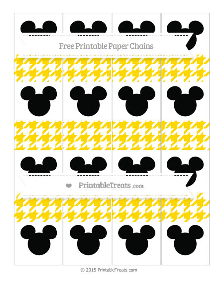 Free Goldenrod Houndstooth Pattern Mickey Mouse Paper Chains