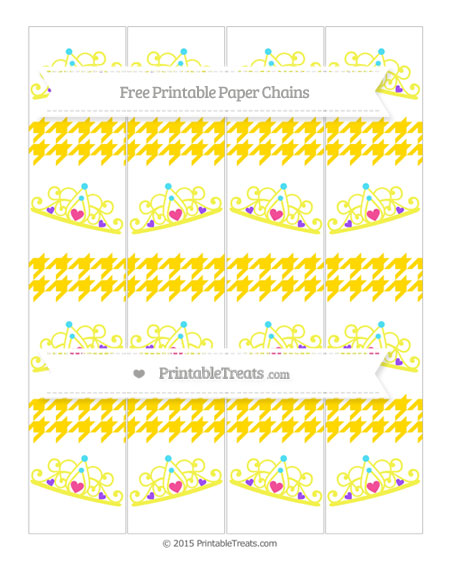 Free Goldenrod Houndstooth Pattern Princess Tiara Paper Chains