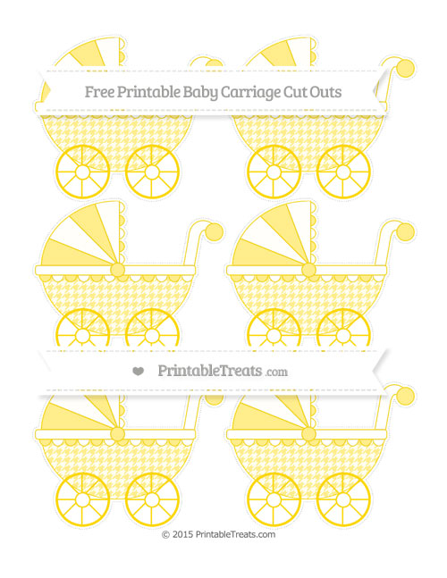 Free Goldenrod Houndstooth Pattern Small Baby Carriage Cut Outs
