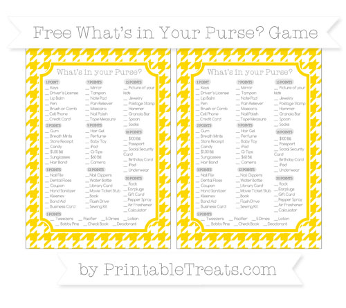 Free Goldenrod Houndstooth Pattern What's in Your Purse Baby Shower Game