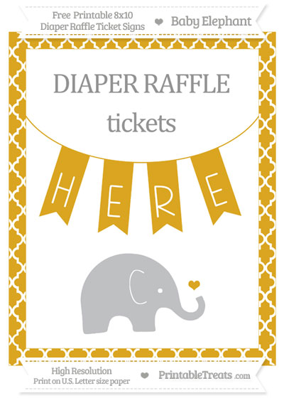 Free Goldenrod Moroccan Tile Baby Elephant 8x10 Diaper Raffle Ticket Sign