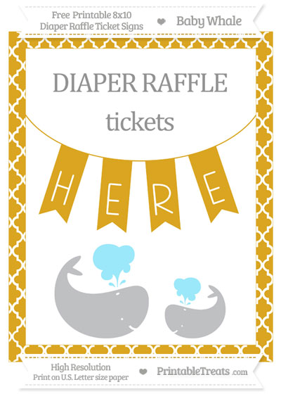 Free Goldenrod Moroccan Tile Baby Whale 8x10 Diaper Raffle Ticket Sign