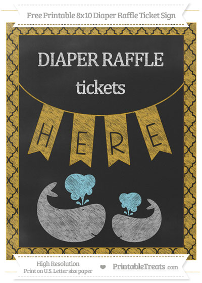 Free Goldenrod Moroccan Tile Chalk Style Baby Whale 8x10 Diaper Raffle Ticket Sign