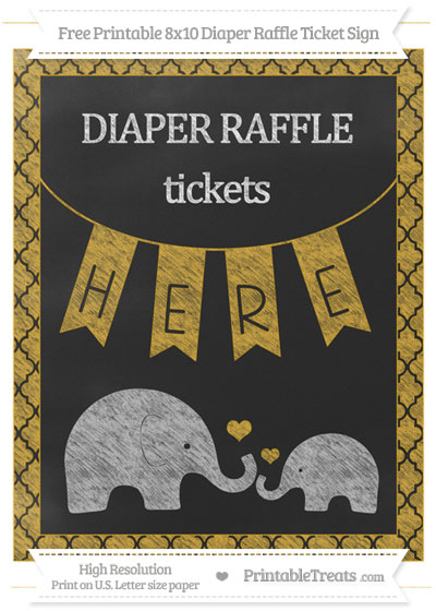 Free Goldenrod Moroccan Tile Chalk Style Elephant 8x10 Diaper Raffle Ticket Sign