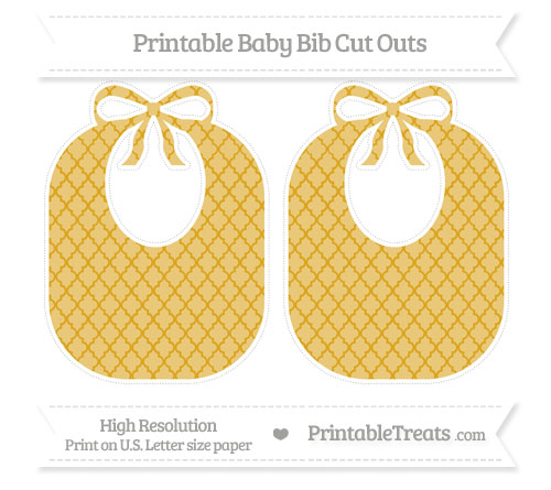 Free Goldenrod Moroccan Tile Large Baby Bib Cut Outs