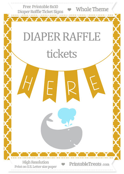 Free Goldenrod Moroccan Tile Whale 8x10 Diaper Raffle Ticket Sign