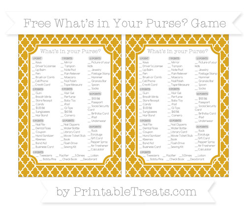 Free Goldenrod Moroccan Tile What's in Your Purse Baby Shower Game