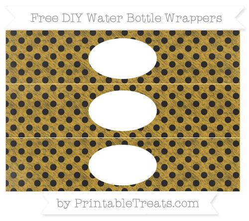 Free Goldenrod Polka Dot Chalk Style DIY Water Bottle Wrappers